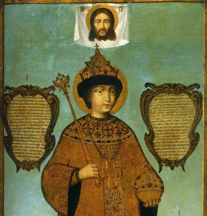 Царь Фёдор Алексеевич перед образом Спаса Нерукотворного (фрагмент)