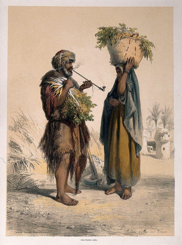 Цветная литография 1870 года, изображающая мужчину с трубкой и женщину с корзиной в Египте