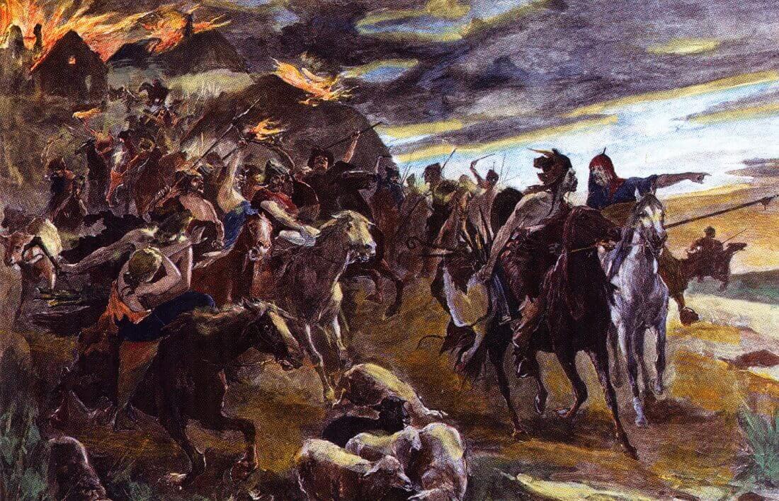 Воины-гунны. Цветная гравюра 1890 года