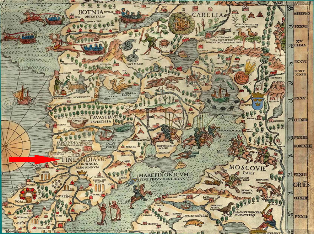Финляндия на карте Олафа Магнуса, XVI век
