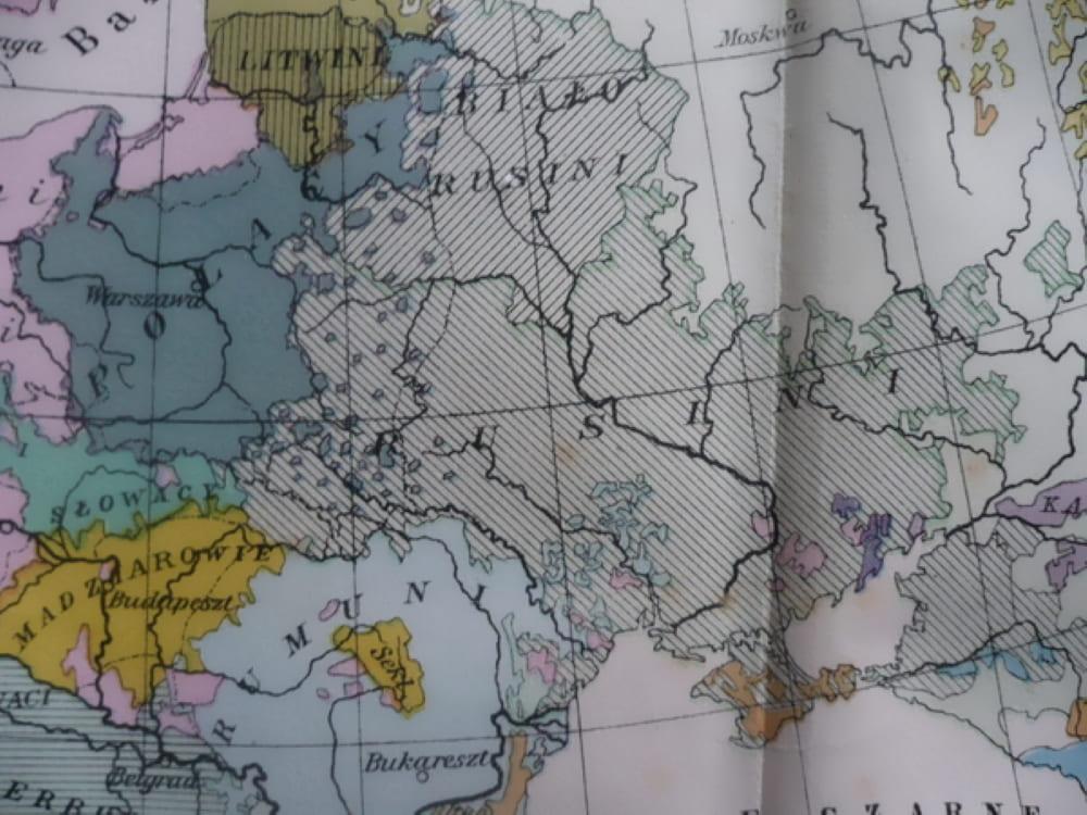 Польская карта Европы 1927 года. Население нынешней Украины называется: Rusini «русины»