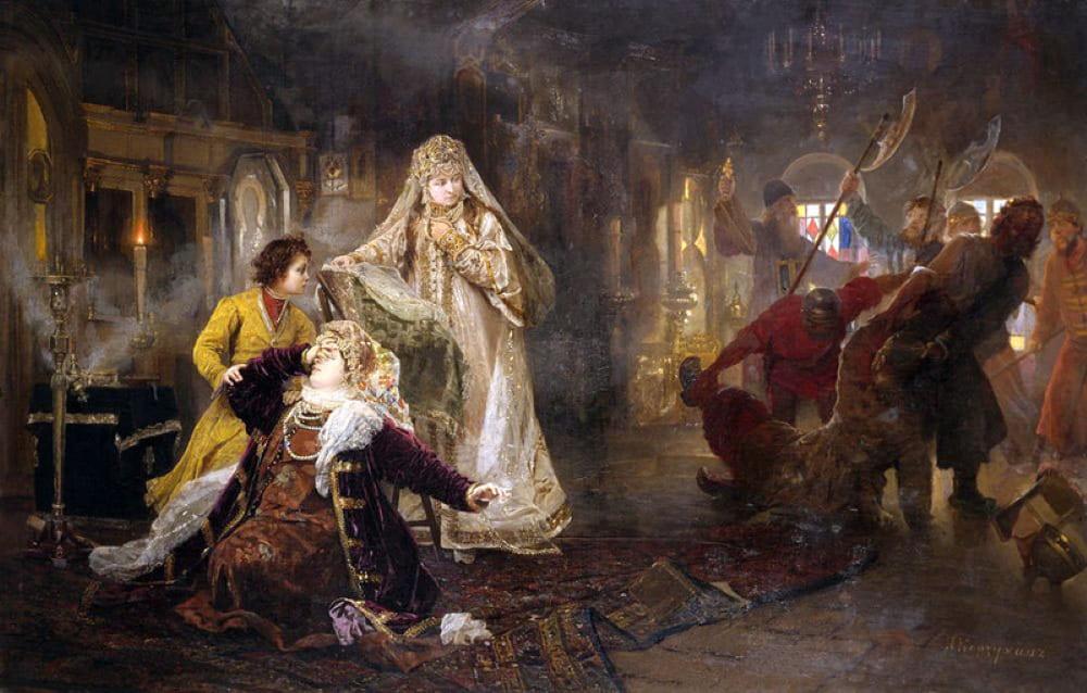 А.И. Корзухин «Мятеж стрельцов в 1682» (Стрельцы выволакивают из дворца Ивана Нарышкина)