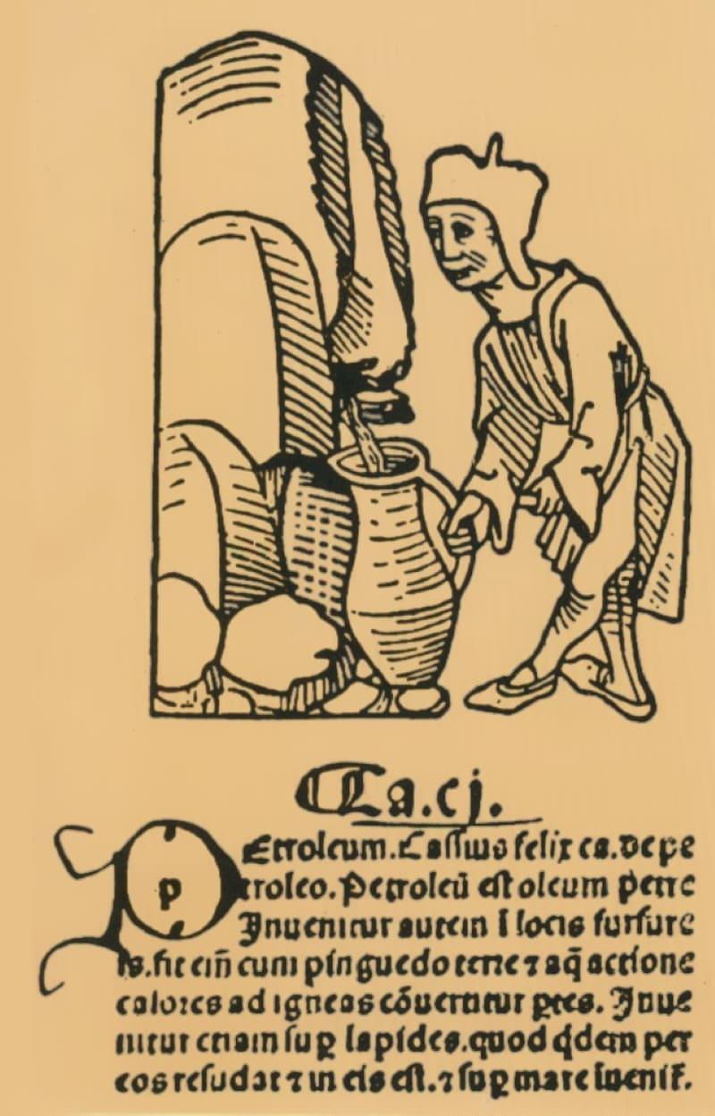 Добыча нефти на гравюре XVI века