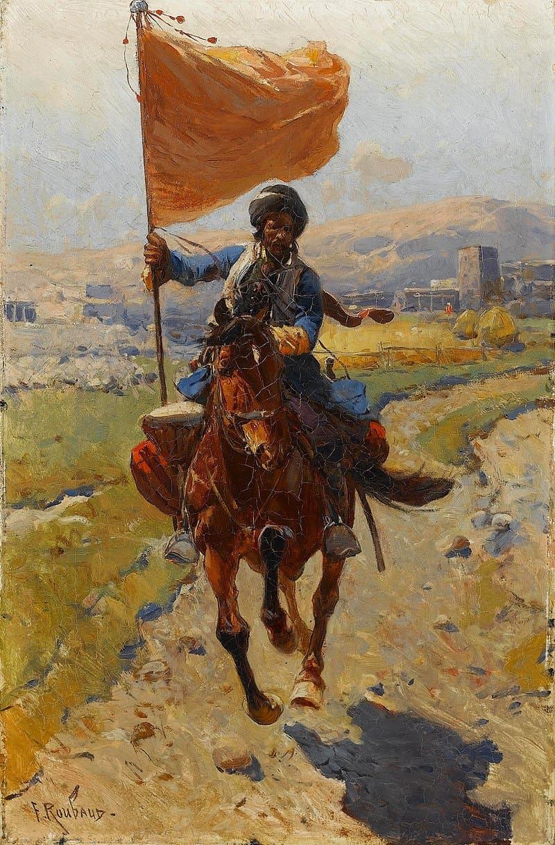 Франц Рубо «Киргизский всадник с флагом»