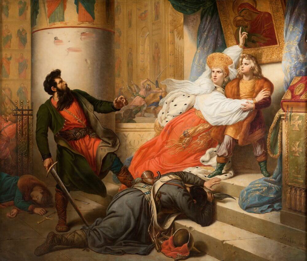 Карл Карлович Штейбен «Восстание стрельцов. Молодой Петр Великий в Троицком монастыре»