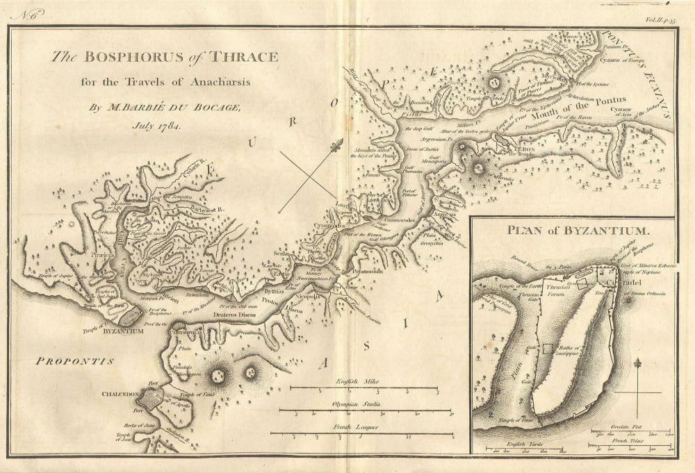 Карта Босфора и города Византий