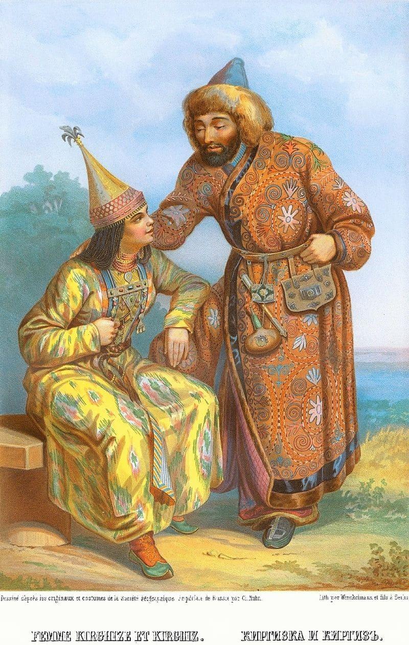 Киргизы в традиционной одежде. 1862 г.