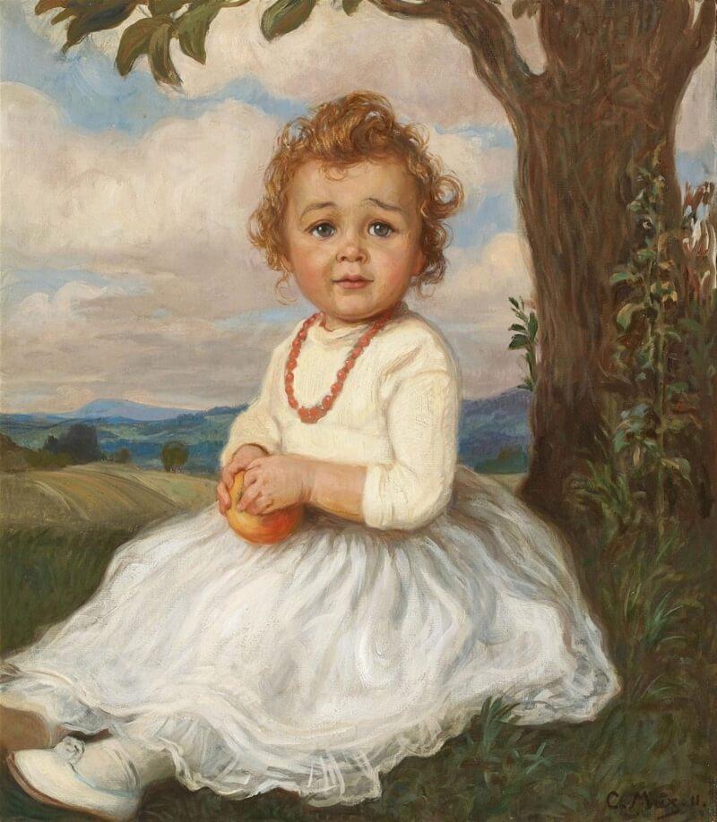 Корнель Макс «Девочка, сидящая на траве» (не является портретом ни одной из дочерей Ивана V)