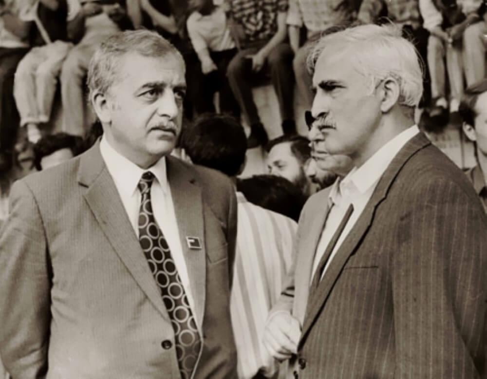 Лидеры грузинского национального движения: Звиад Гамсахурдия и Мераб Костава. Тбилиси, 1988 год