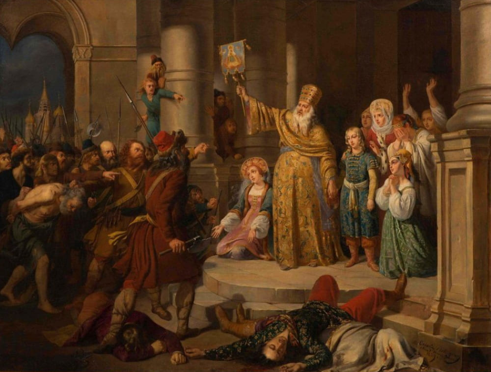 О. Россиньон «Царь Петр Алексеевич во время стрелецкого бунта в Московском Кремле 15 мая 1682 г.»
