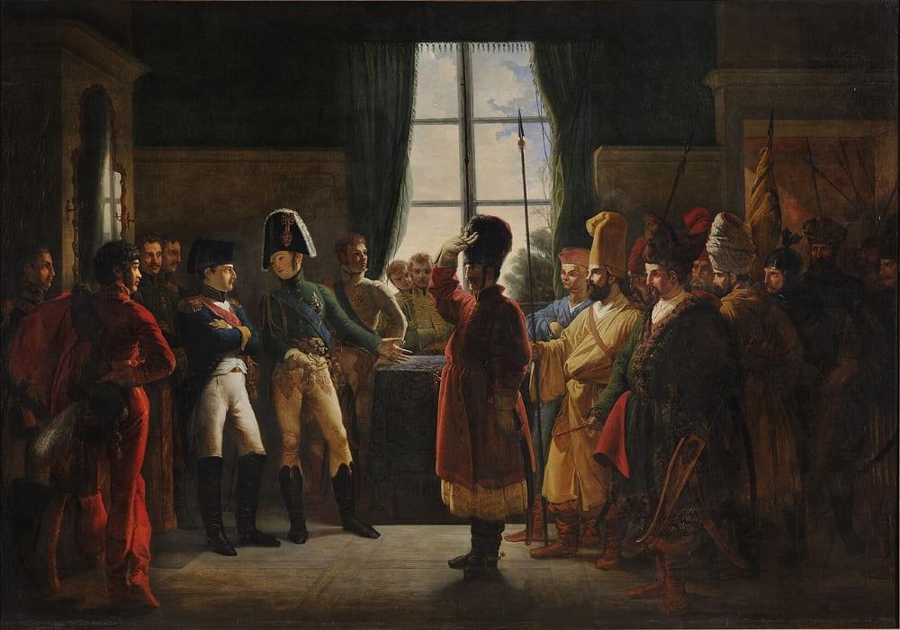 П. Н. Бержере «Александр I представляет Наполеону казаков, башкир и калмыков 9 июля 1807 года»