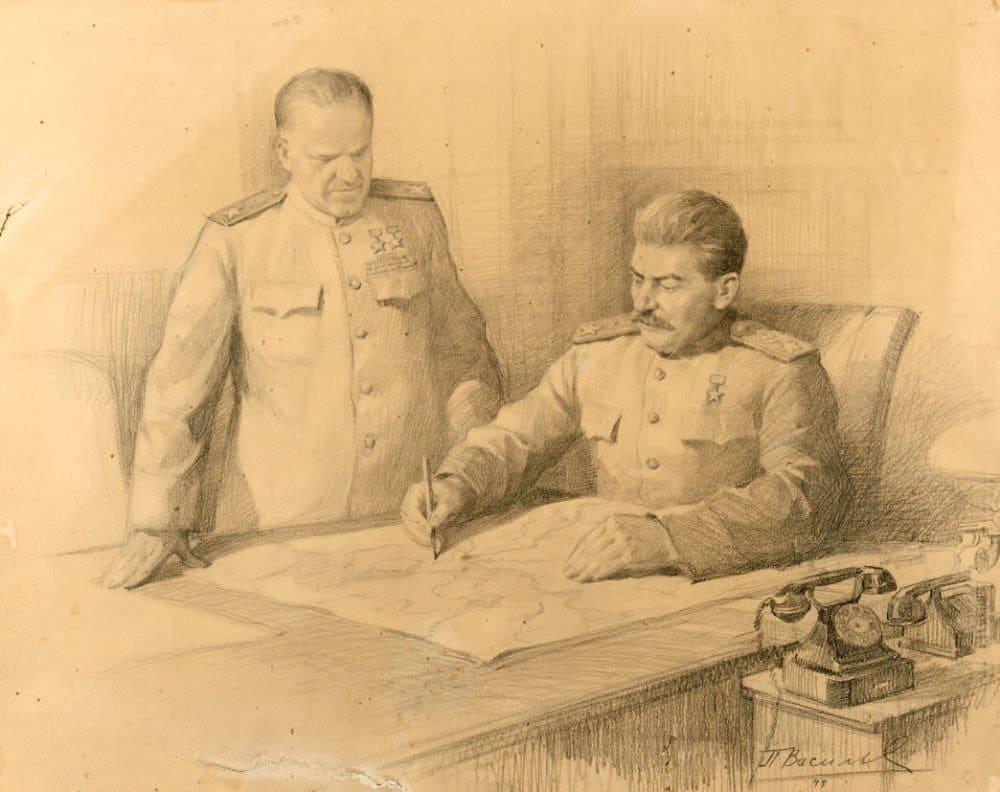 П.В. Васильев «И.В. Сталин и Г.К. Жуков над картой боевых действий»