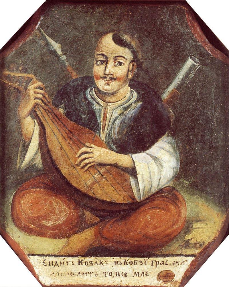 Старинная украинская картина с казаком Мамаем