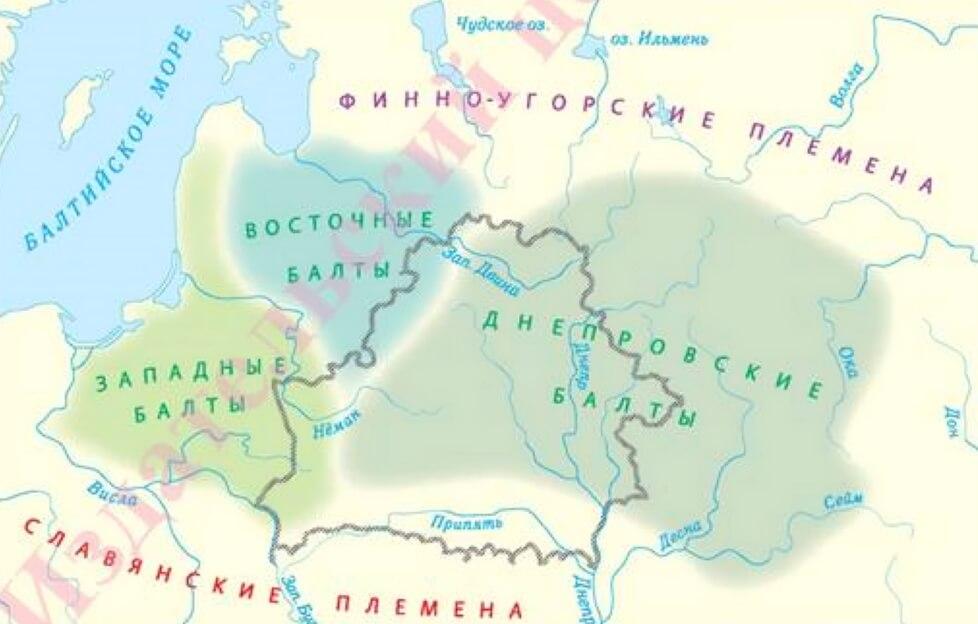 Территория расселения балтов (на карте отмечена современная граница Республики Беларусь)