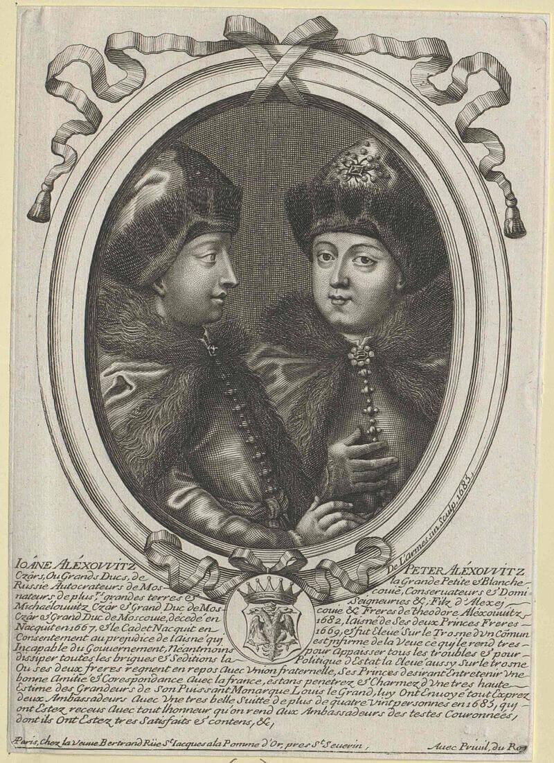 Цари Иоанн и Петр Алексеевичи. Французская гравюра 1685 года.