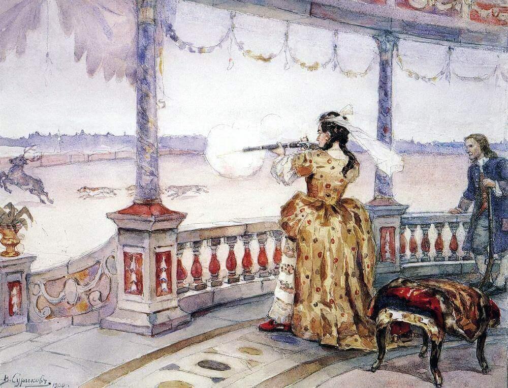 Василий Иванович Суриков «Императрица Анна Иоанновна в петергофском Тампле стреляет оленей»