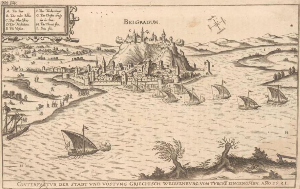 Белградская крепость в Средневековье. Виден верхний и нижний город и дворец.