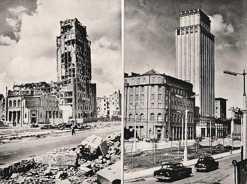 До и после восстановления города