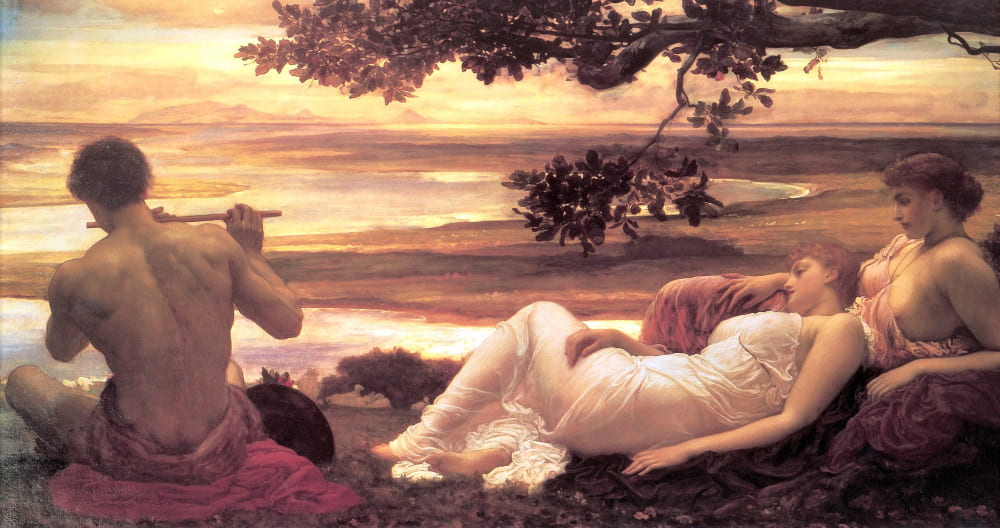 Дороти Дин (одна из натурщиц) и Лилли Лэнгтри на картине «Идиллия» художника Фредерика Лейтона