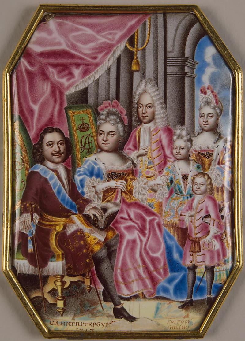Григорий Мусикийский «Семейный портрет Петра вместе с Екатериной, сыном царевичем Алексеем и детьми от второй жены»