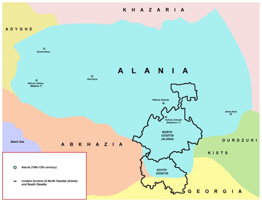 Средневековая Алания относительно современных границ Северной и Южной Осетии / © PANONIAN / ru.wikipedia.org