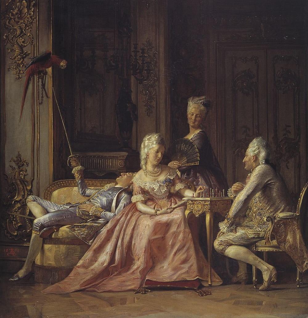 Кристиан Цартман «Сцена из жизни короля Кристиана VII (слева на диване)»