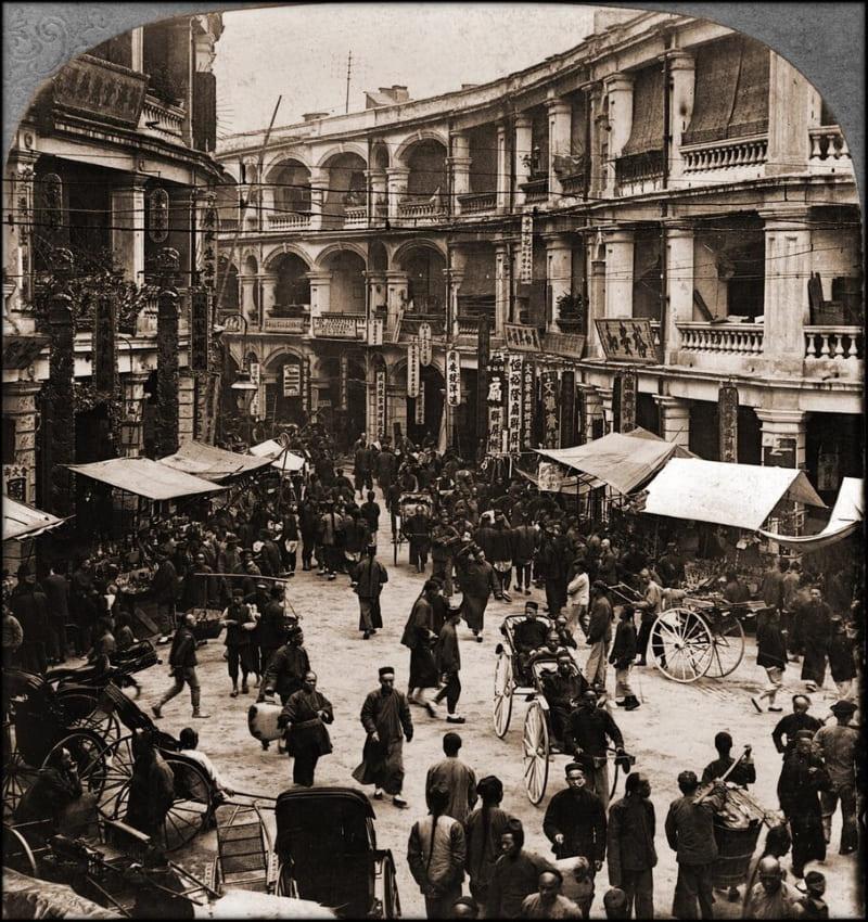 Куинсроад во время китайского Нового года, Гонконг, 1902 год