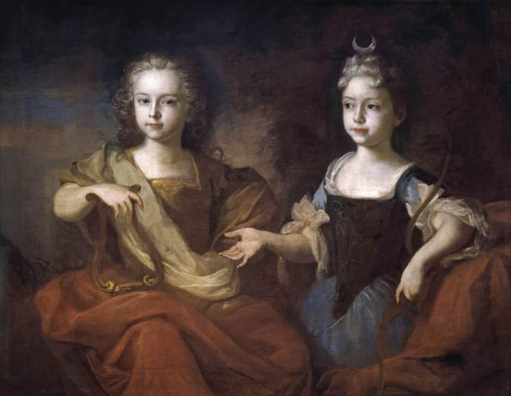 Луи Каравак «Наталья Алексеевна (справа) в образе Дианы в 8-летнем возрасте с братом, будущим Петром II, в образе Аполлона»