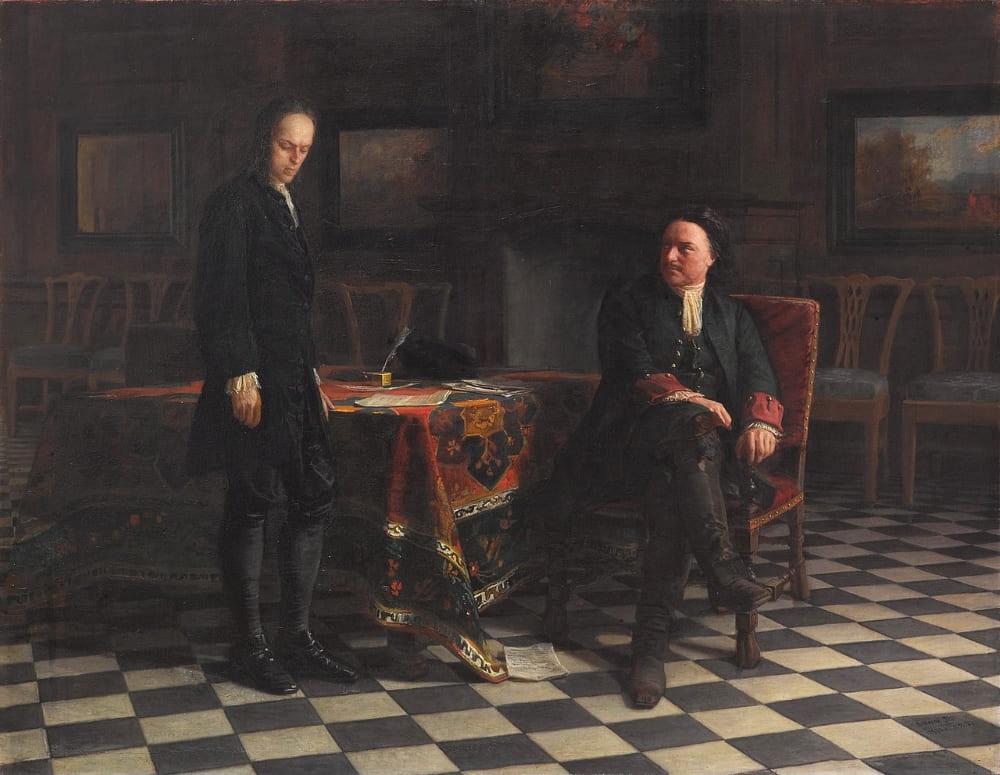 Николай Ге «Пётр I допрашивает царевича Алексея в Петергофе»