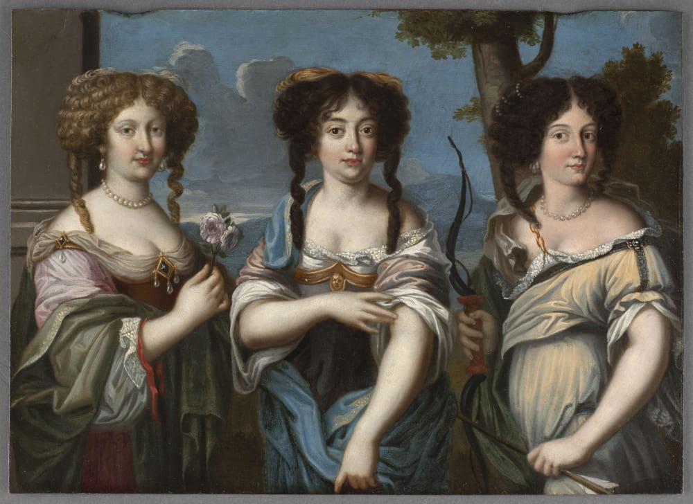 Три племянницы Мазарини: Мария (слева), Олимпия (в центре), и Гортензия (справа)