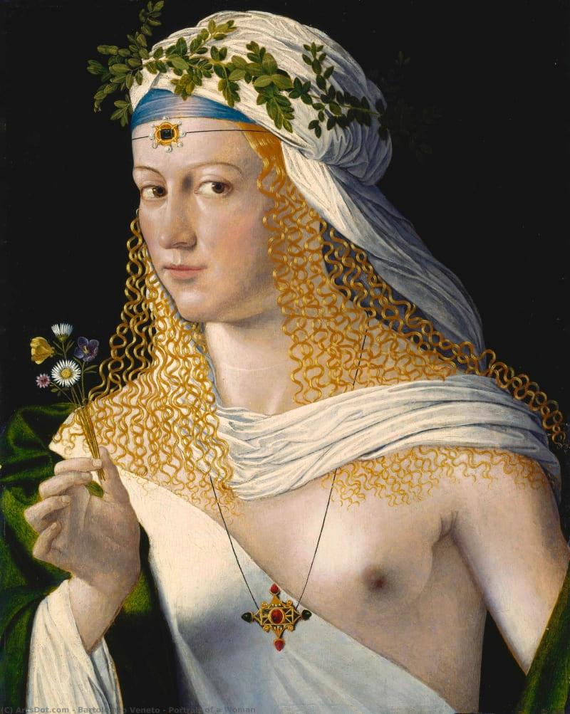 Бартолоео Венето «Портрет куртизанки в образе Флоры» Традиционно считался изображающим Лукрецию Борджиа