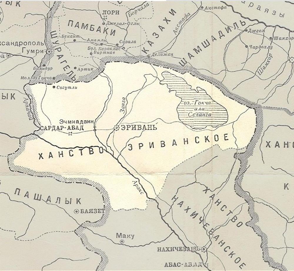 Ханство на карте военных действий в Закавказском крае с 1809 по 1817 год