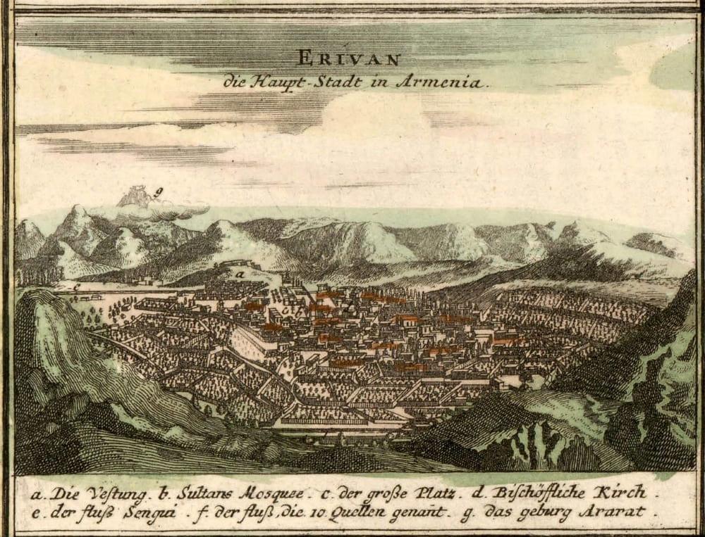 И. Б. Хоманн (европейский гравер и картограф) «Эривань, главный город Армении»