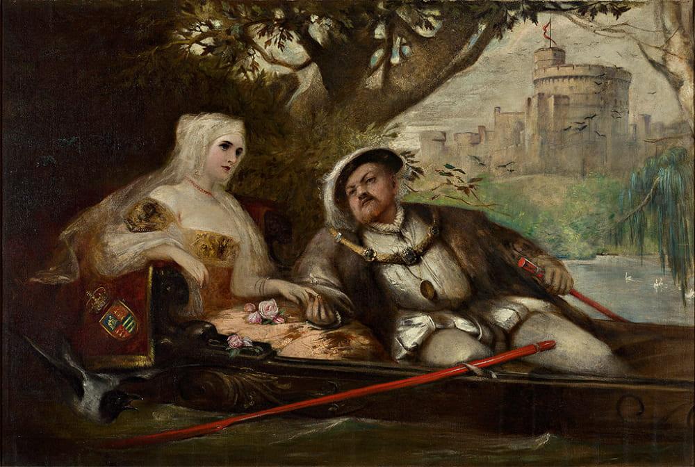 Король Генрих VIII с одной из своих жен в свадебной поездке перед Виндзорским замком