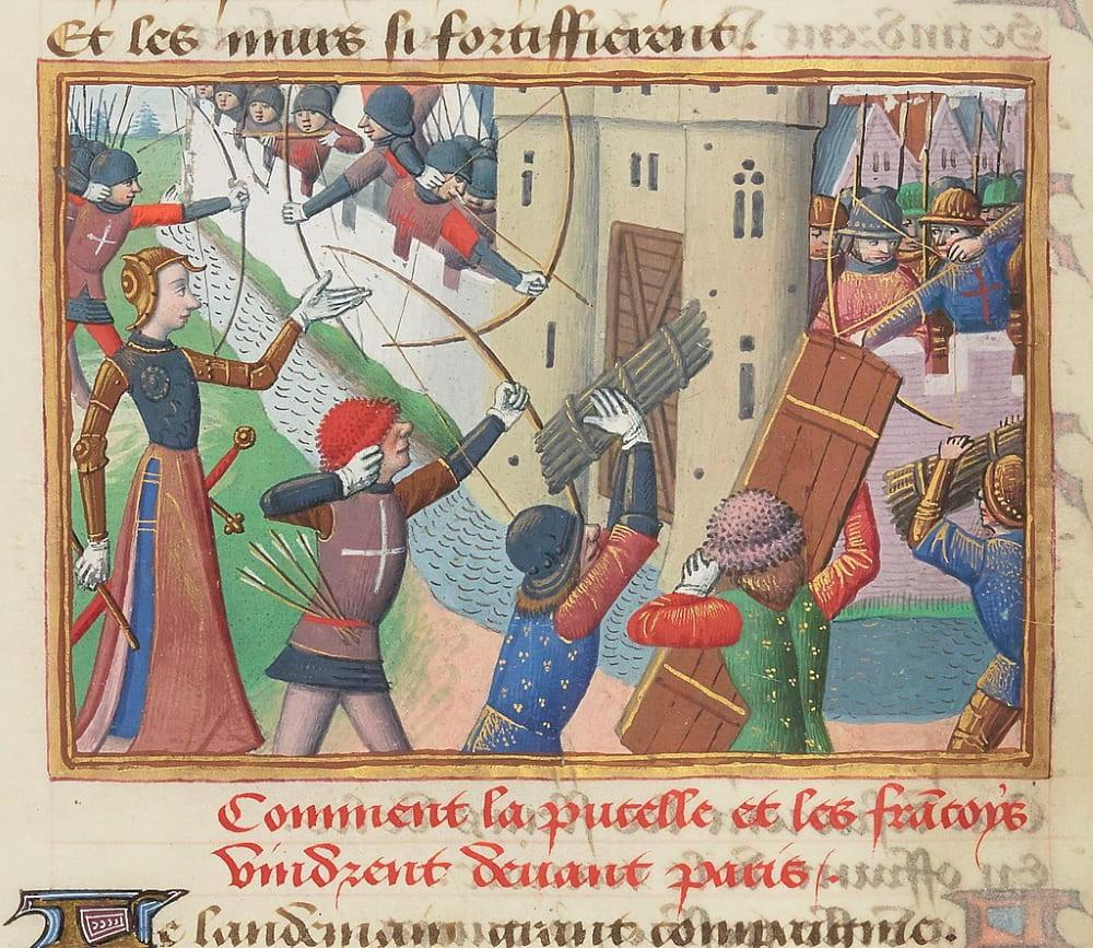 Осада Парижа. Миниатюра из «Вигилий на смерть короля Карла VII», конец XV века