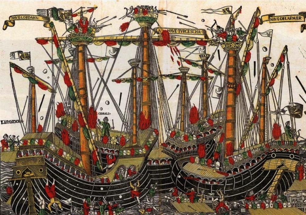 Рукописная миниатюра из собрания Британского музея (Морской бой при Зонкьо)