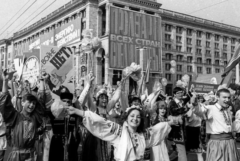 Демонстрация 1 мая 1986 года после взрыва в Чернобыле