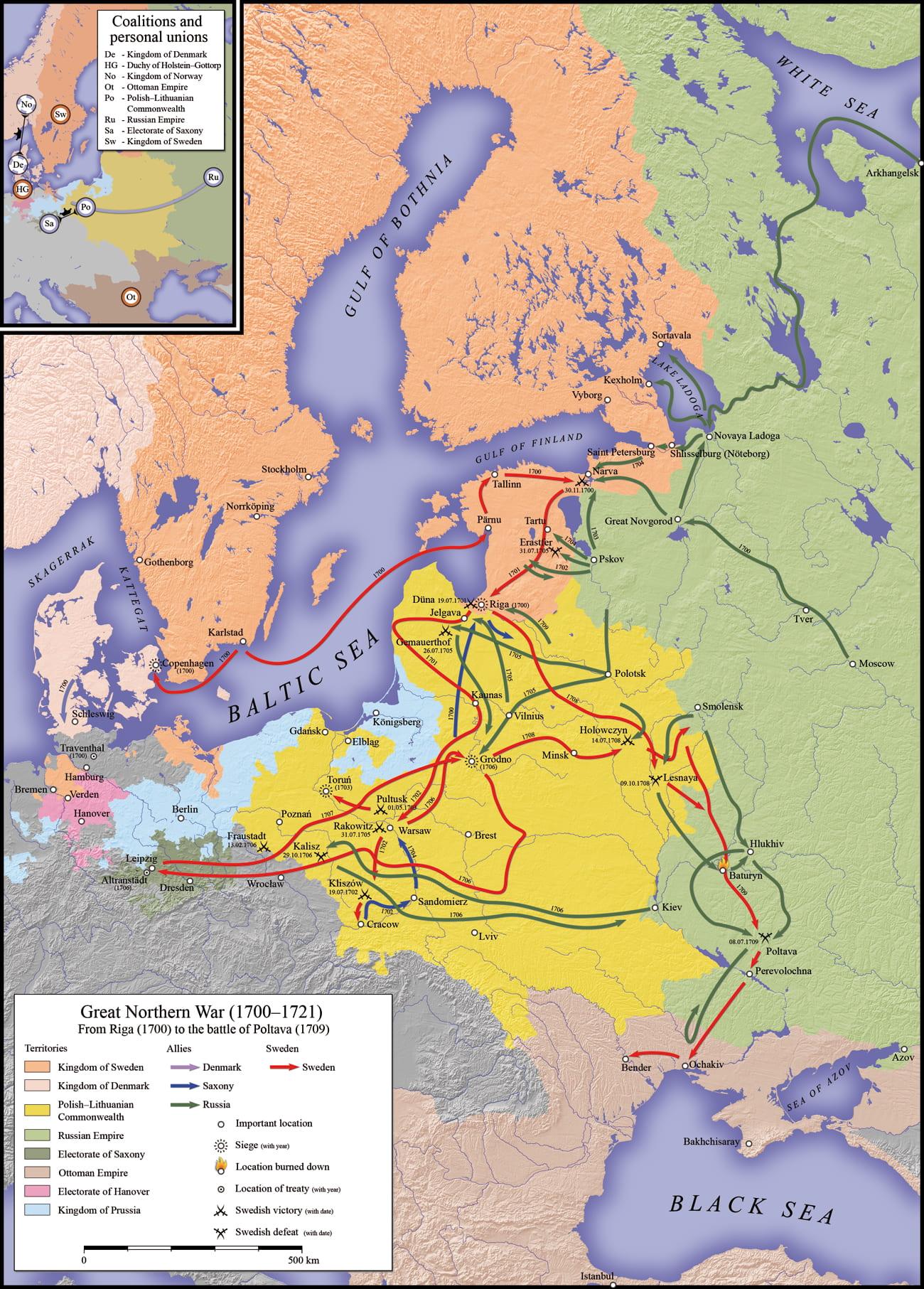 Ход войны в 1700—1709 годах / © S. Bollmann / ru.wikipedia.org