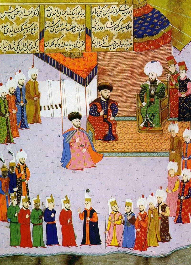 Менгли I Гирей (в центре) со старшим сыном, будущим ханом Мехмедом I Гиреем (слева) и турецким султаном Баязидом II (справа)