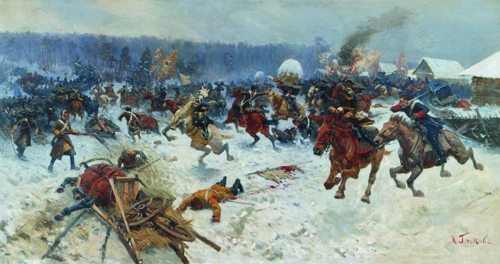 Митрофан Греков «Атака шведов ярославскими драгунами у деревни Эрестфер 29 декабря 1701 года»