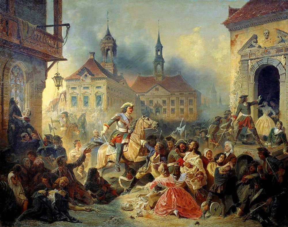 Николай Зауервейд «Пётр I усмиряет своих солдат после взятия Нарвы»