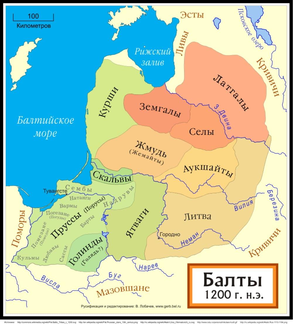 Пруссы среди других балтских племён (около 1200 года) / © Лобачев Владимир / ru.wikipedia.org