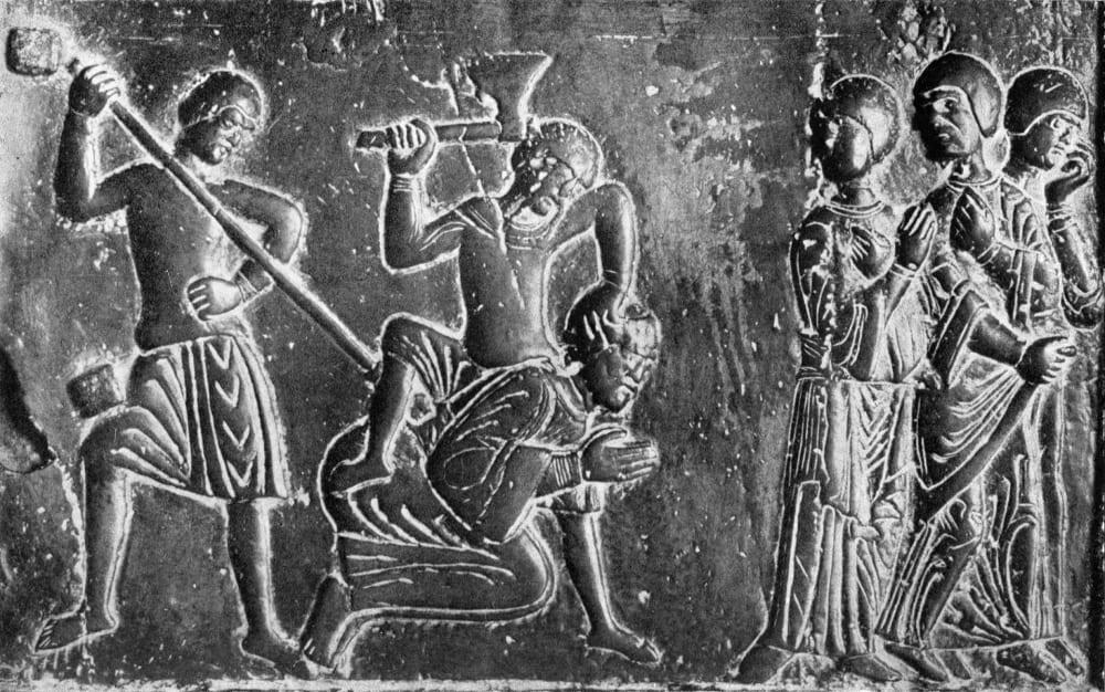 Пруссы убивают Св. Адальберта. Средневековая миниатюра