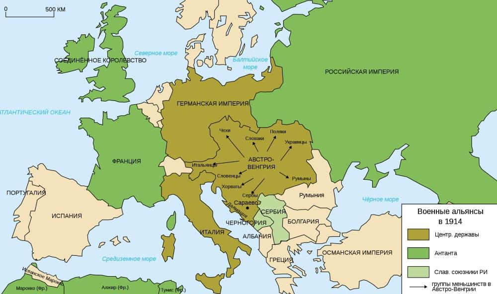 Военные альянсы в Европе в 1914 году / © historicair / ru.wikipedia.org