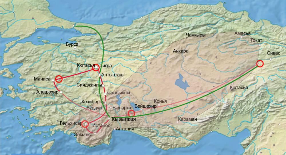 Территории, охваченные восстанием, путь восставших и путь Али-паши / ru.wikipedia.org