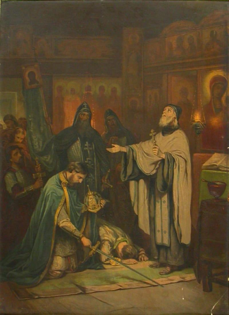 А. Н. Новоскольцев «Преподобный Сергий благословляет Дмитрия на борьбу с Мамаем»