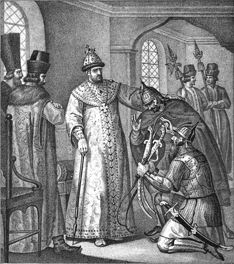 Борис Чориков «Царю Ивану IV вручают трофеи, взятые у Девлет-Гирея князем Воротынским после сражения при Молодях»