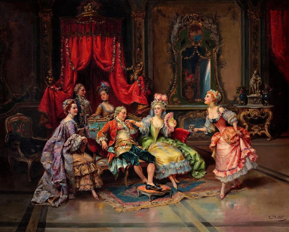 Чезаре Аугусто Детти «Людовик XV в окружении прекрасных дам»