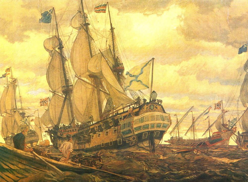 Евгений Лансере «Флот Петра Великого»