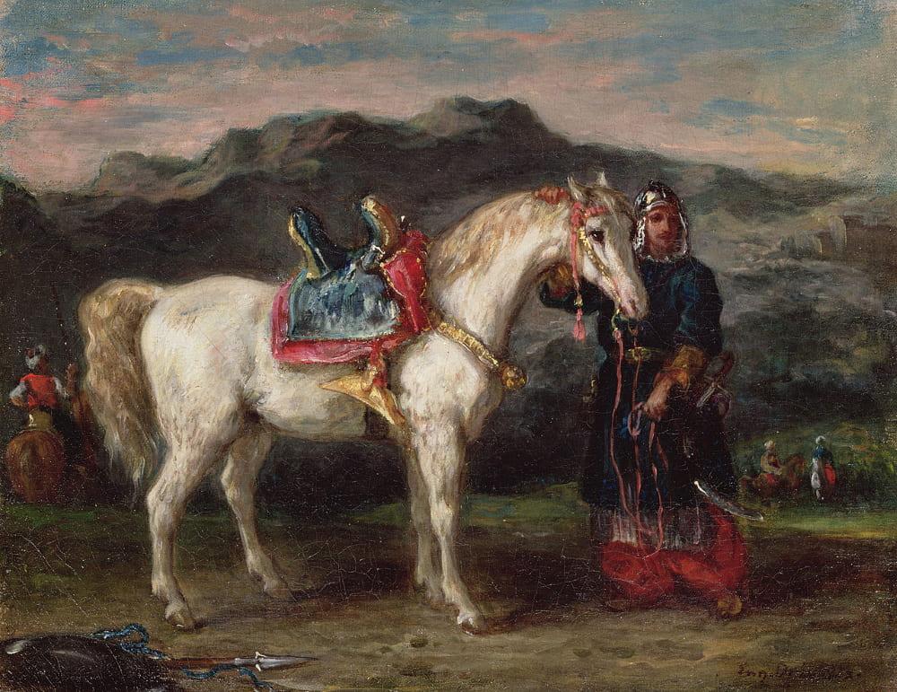 Эжен Делакруа «Черкес держит лошадь под уздцы»